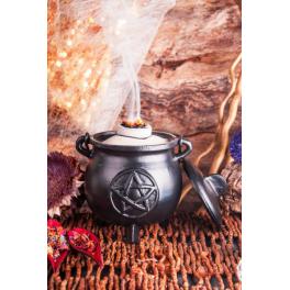 Grand chaudron de sorcière - pentagramme? Fonte avec poignée